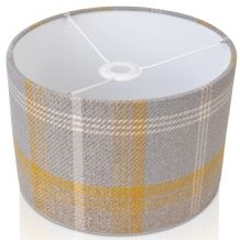 Grey and yellow gold Tartan  Style Cylinder / Drum Lampshade
